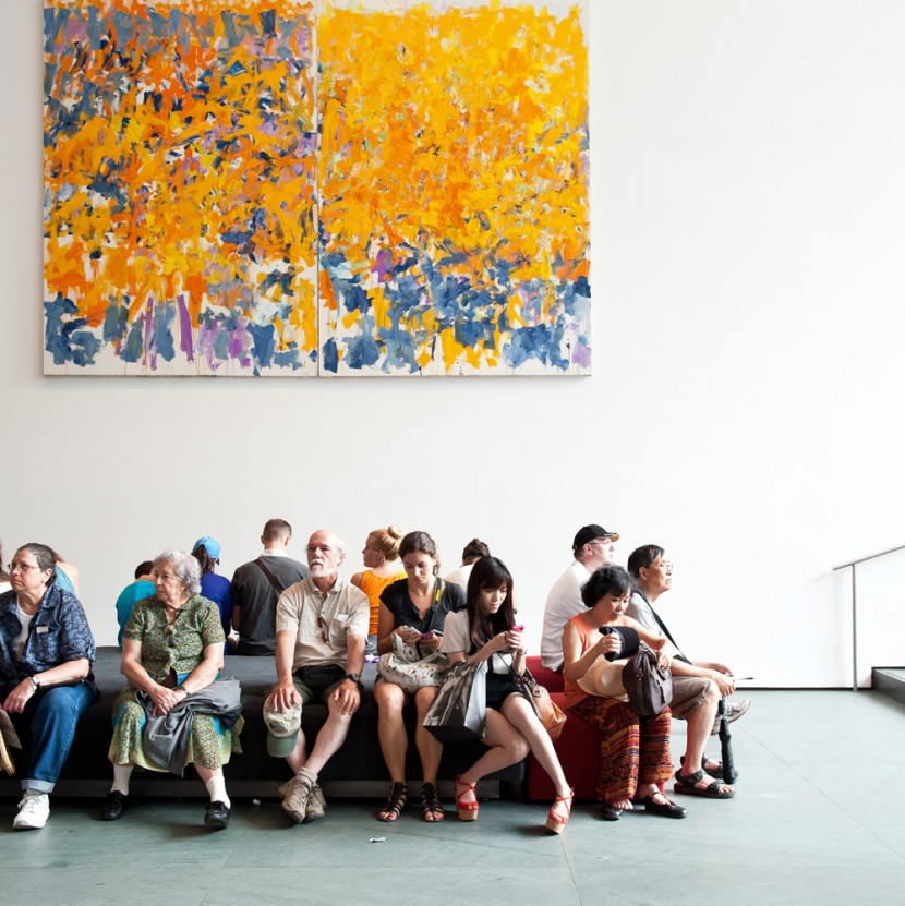 MoMA visitors under a painting by Joan Mitchell