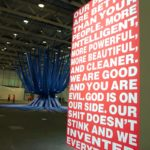 Barbara Kruger: Untitled (Our people are better than your people), 1994, and Otto Piene: Blue Star Linz, 1980. Installation view @ Art Basel Unlimited 2017